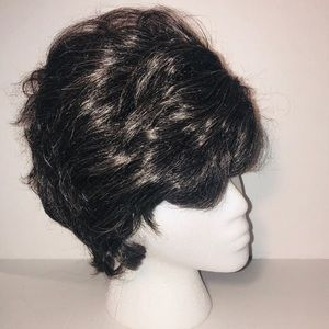 Black & Grey Edgy pixie wig with feathery layers